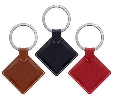 Realistic keychain pendant template.