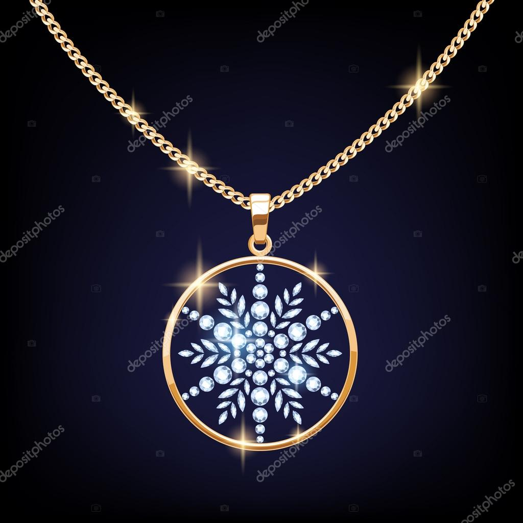 Beautiful golden snowflake pendant vector illustration beautiful golden snowflake pendant vector illustration diamond gemstone round necklace jewelry christmas new year gift design reamolko mozeypictures Gallery