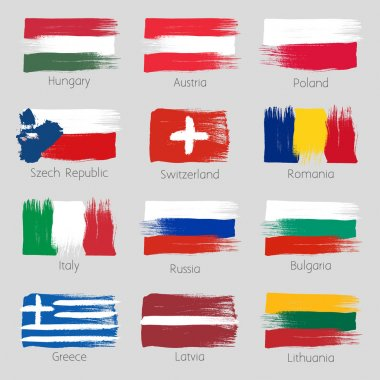 Colorful brush strokes painted european countries flags set.