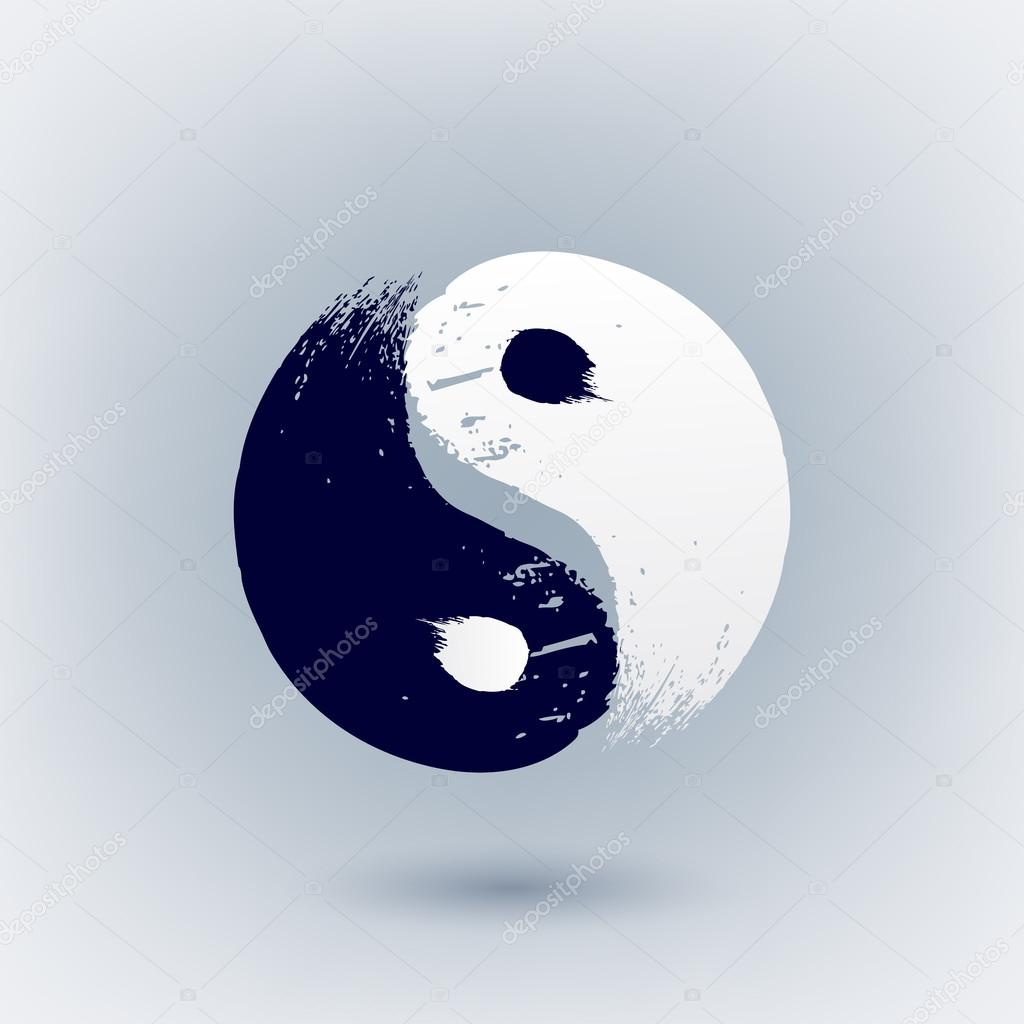 Super Yin Yang symbol painted with brush strokes. — Stock Vector  WM31