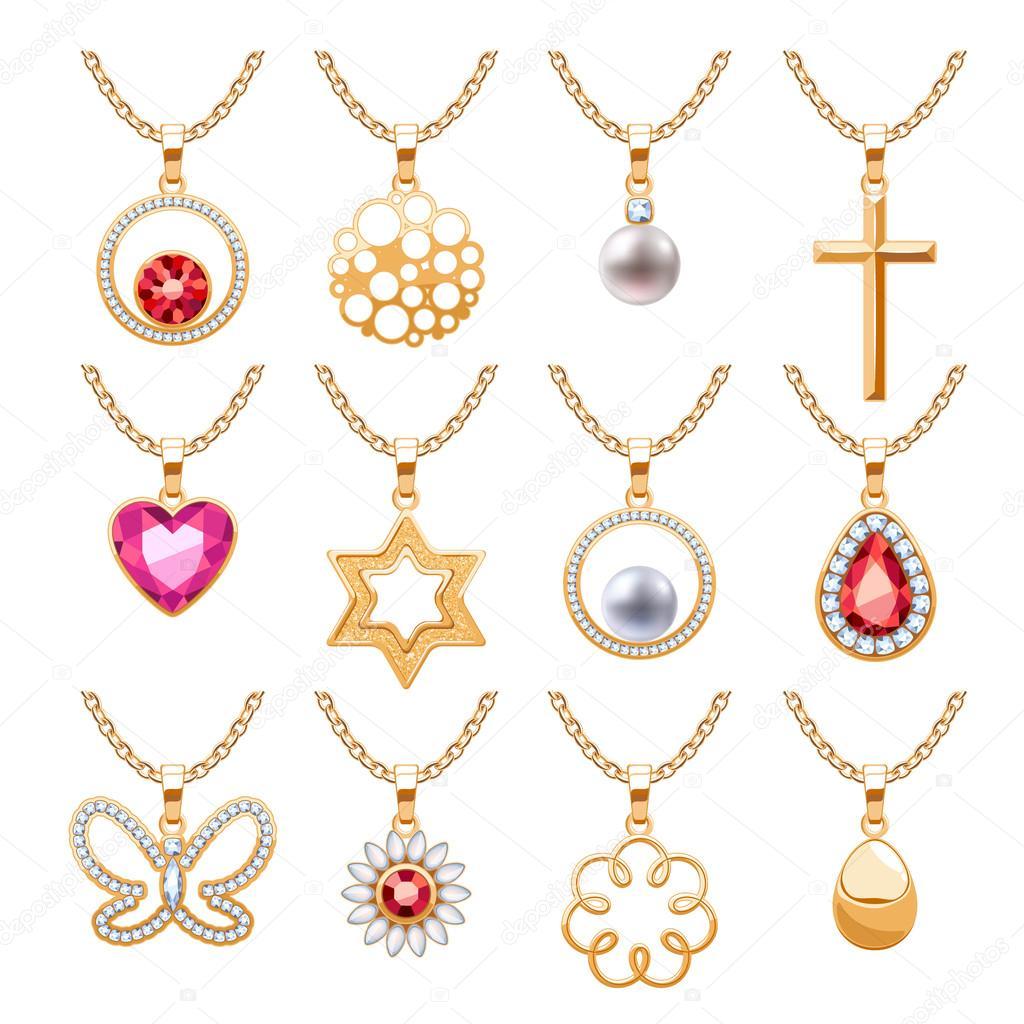 da39907bf524 Piedras preciosas elegante vector conjunto de joyas de colgantes ...