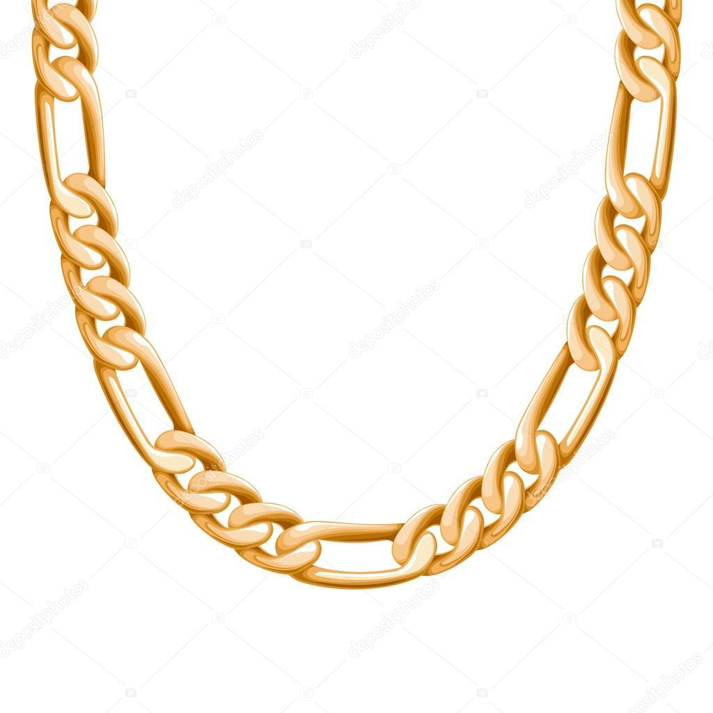 Πεπλατυσμένος αλυσίδα χρυσή μεταλλικά κολιέ ή βραχιόλι — Διανυσματικό Αρχείο 865448d291c