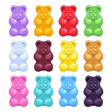 Set of colorful beautiful gummy bears.