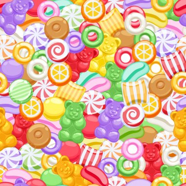 Seamless assorted sweets candies background.