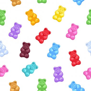 Seamless gummy bears candies background.
