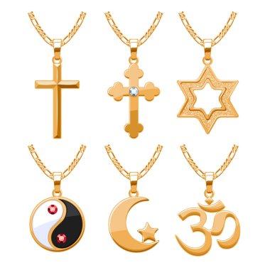 Elegant gemstones vector jewelry religious symbols pendants set.