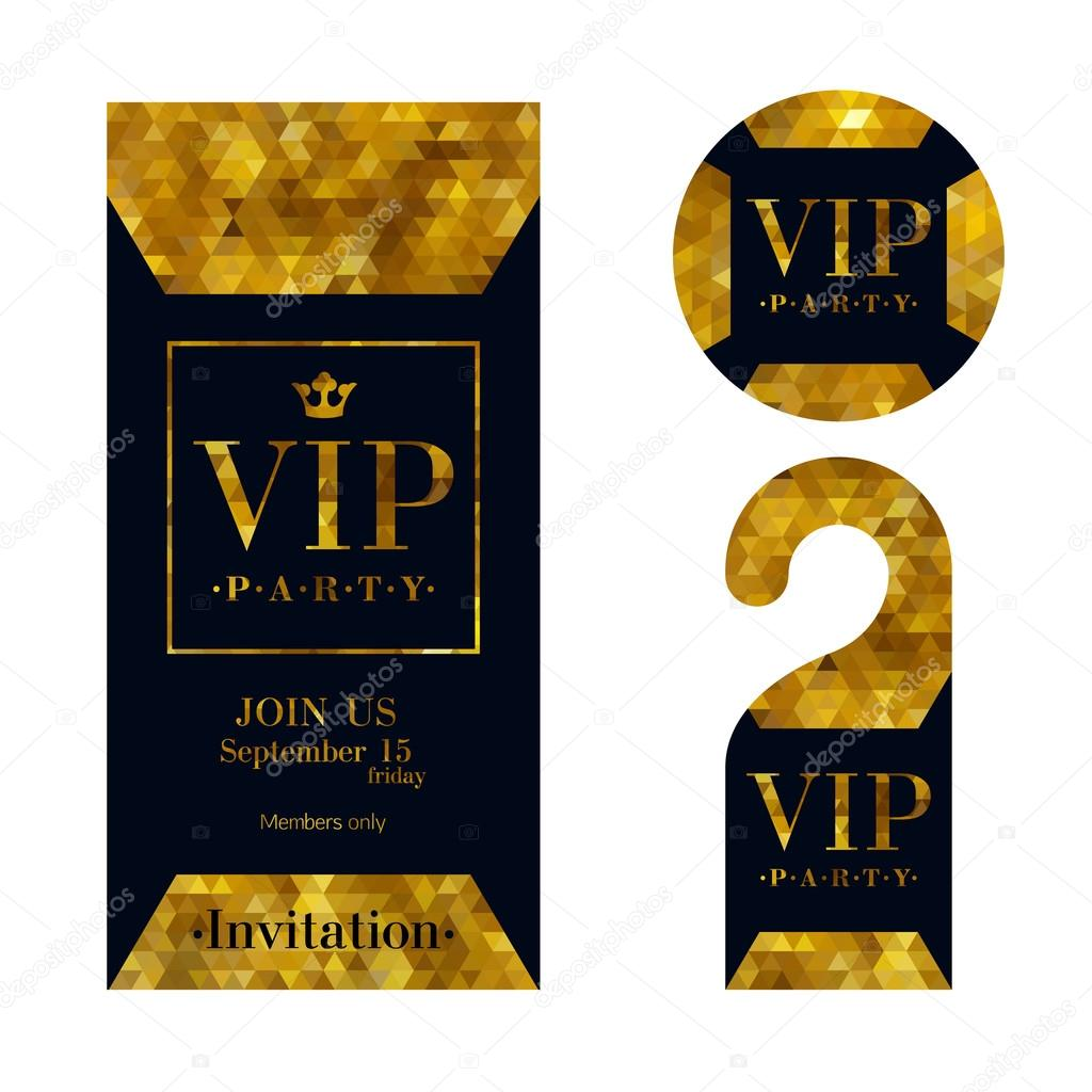 Vip invitation card warning hanger and badge stock vector vip zone members premium invitation card warning hanger and round label badge black and golden design template set pixel mosaic texture vector by stopboris Image collections