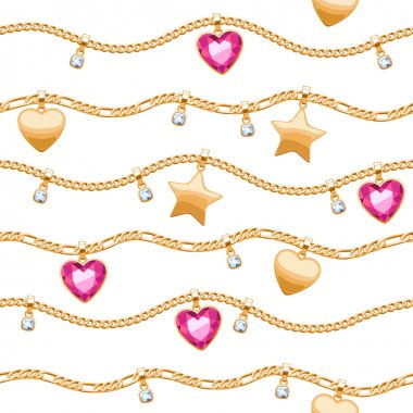 Golden chains white and pink gemstones pattern.