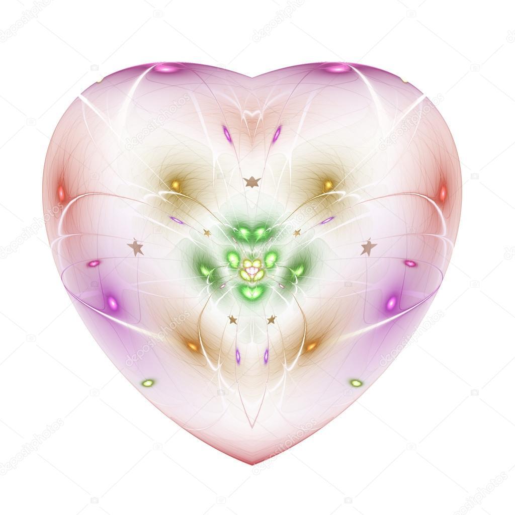 Lehke Barevne Fraktalni Kvetina V Izolovanem Srdci Digitalni Kresby