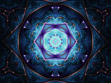 Dark blue fractal mandala, digital artwork for creative graphic design
