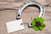 Fotografie Horseshoe and four leaf clover with empty tag