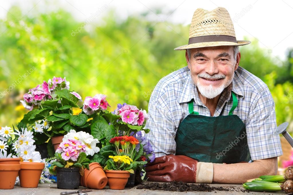 Senior in the flower garden