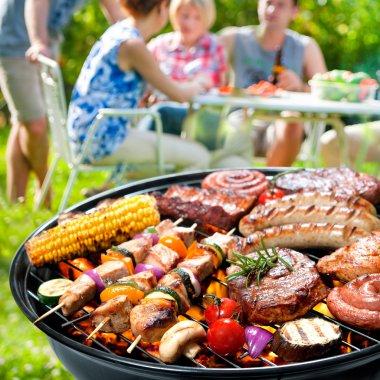 Family having a barbecue party in their garden in summer stock vector