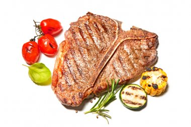 Grilled T-bone steak isolated