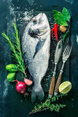 Fotografie Fresh Gilt-head bream with spices and seasoning
