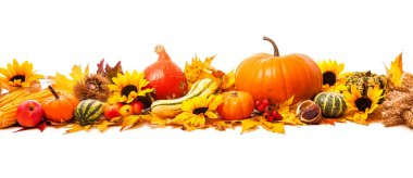 Autumn decoration arranged with dry leaves, pumpkins and more