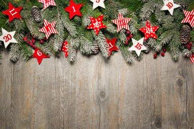 Fir tree  branches and advent calendar