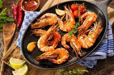 Fried king prawns
