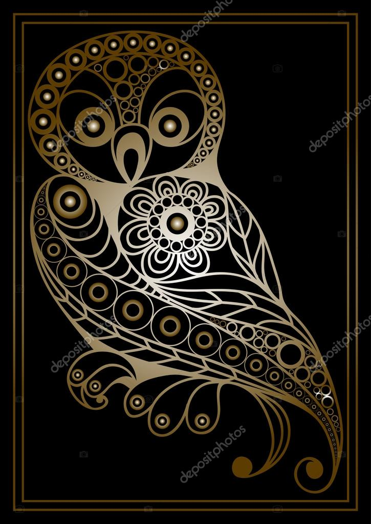 Graphic illustration with lacy owl 1 gold stock vector kashtanka patterned owl in floral style suitable for invitation flyer sticker poster banner cardlabel cover web vector illustration vector by kashtanka stopboris Choice Image