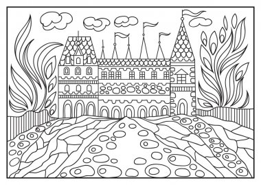 Graphical illustration of a castle on the background of nature 1