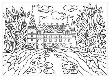 Graphical illustration of a castle on the background of nature 4