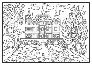 Graphical illustration of a castle on the background of nature 7