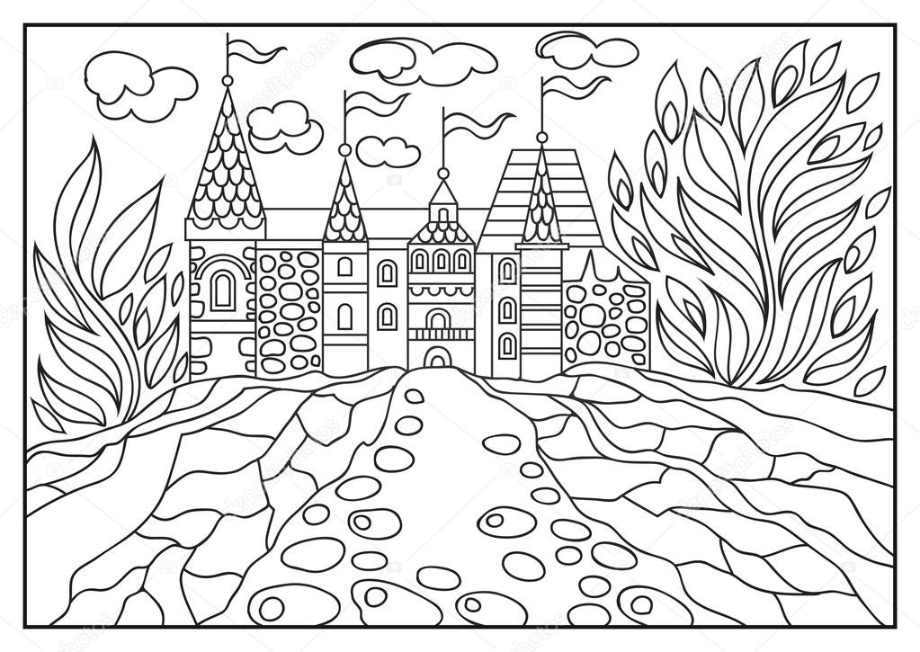 Graphical Illustration Of A Castle On The Background Of