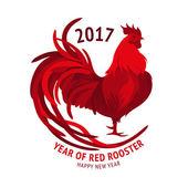Červený kohout. Šťastný čínský Nový rok 2017. Vektor