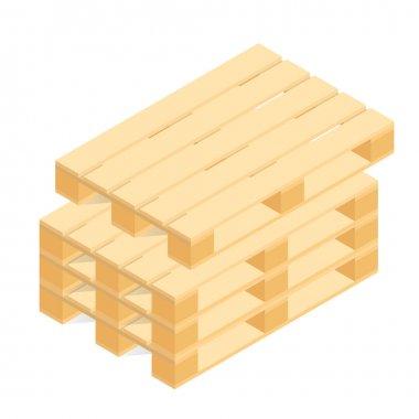 Isometric wooden pallet. Vector