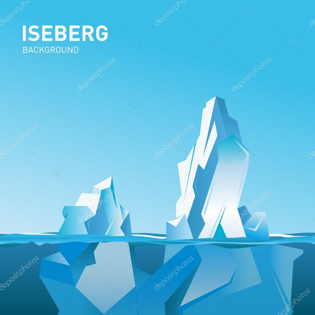 Iceberg under and above water. Vector illustration