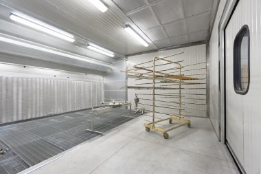 paint chamber of body shop, joinery or  workshop