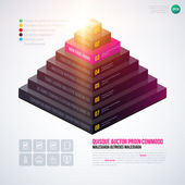 Isometric 3d pyramid chart template
