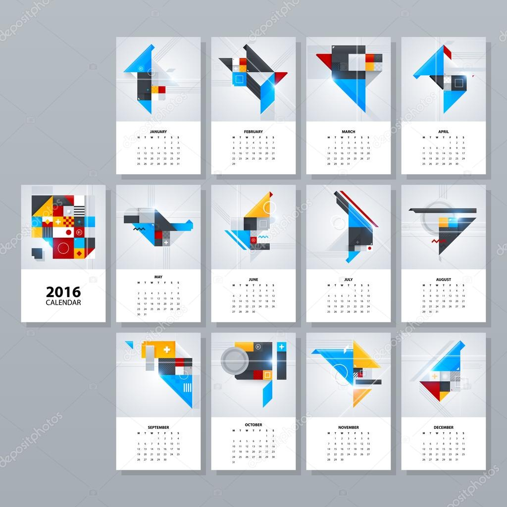 2016 calendar layouts stock vector miaou miaou 98260140