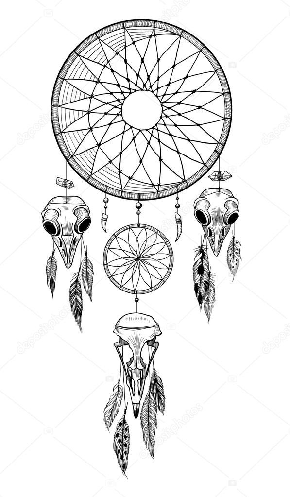 depositphotos_110095006 stock illustration dreamcatcher with ornament and feathers