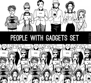 People with gadgets set.