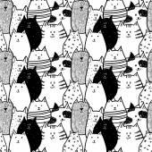Fényképek Doodle vicces macskák zökkenőmentes minta