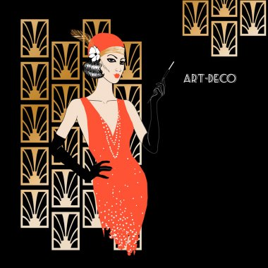 Woman in art deco style