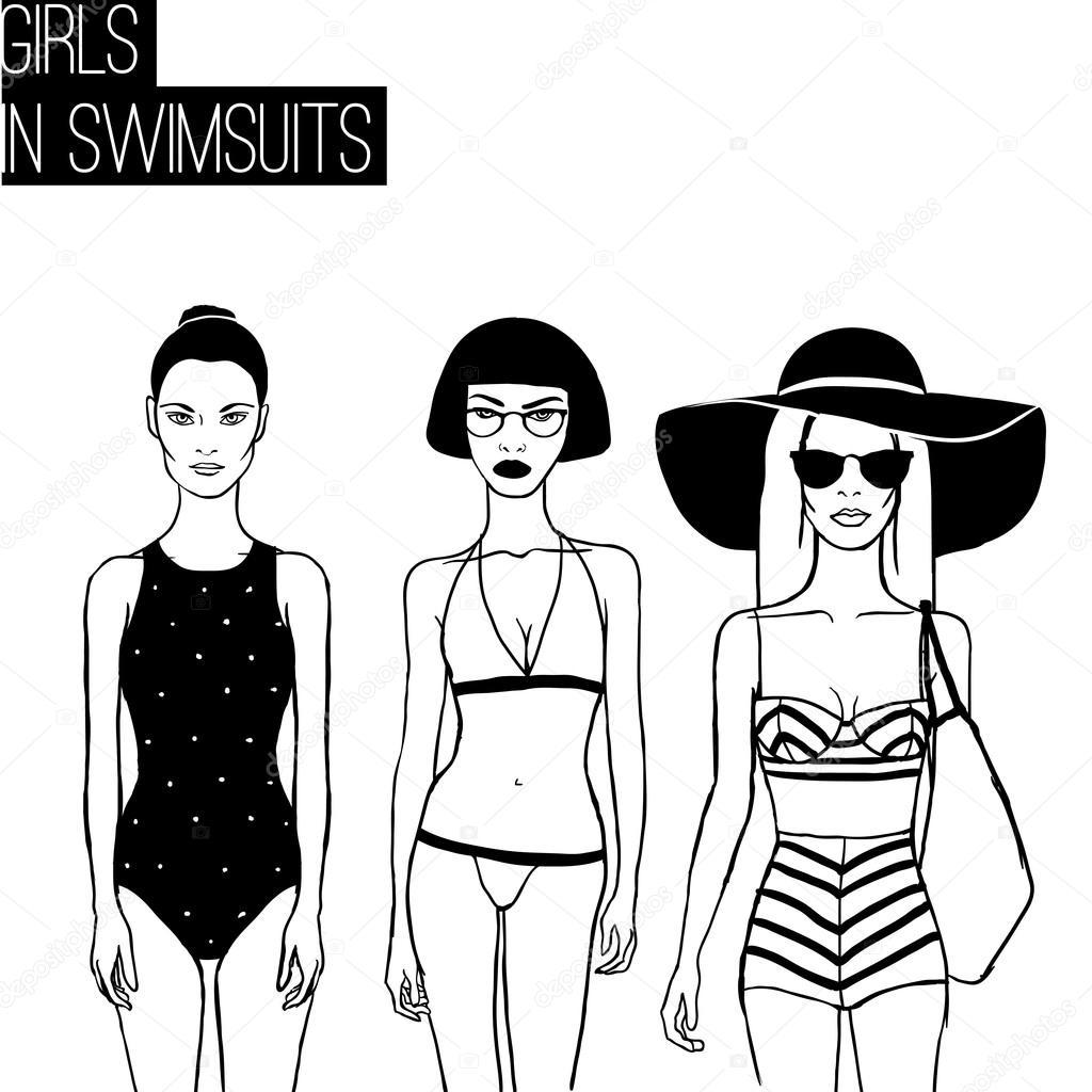 512c39022e4c1 Three girls in bikini swimsuits — Stock Vector © fearsonline #74226409