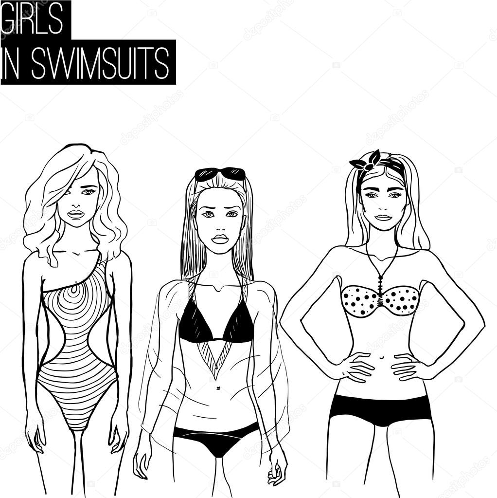 5d3f632491193 Three girls in bikini swimsuits — Stock Vector © fearsonline #74226411