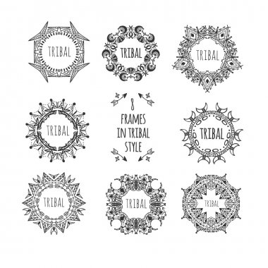 Doodle decorative set of frames