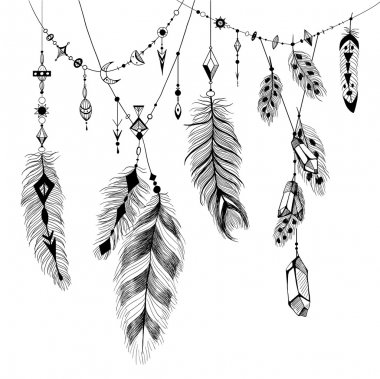 Detailed feathers in boho style