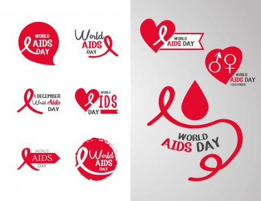 World aids day, awareness campaign support and prevention, pack icons vector illustration icon