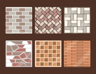 set of pavements and tiles square and rectangular layout