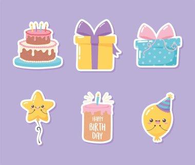 Happy birthday, icons set sticker of cake gift balloon celebration party cartoon vector illustration icon