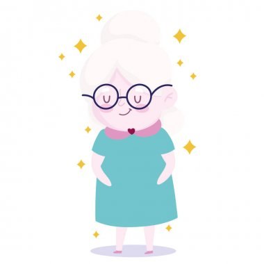 Cute grandma with glasses cartoon character icon vector illustration icon