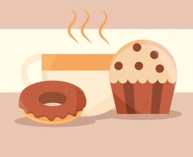 Donut cupcake and coffee cup food menu in cartoon flat vector illustration icon