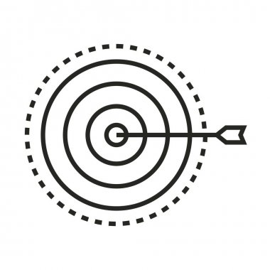 Digital marketing target strategy vector illustration line icon icon