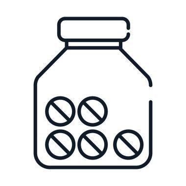 Health medical pills container prescription vector illustration line icon icon