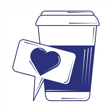 Social media like coffee cup blue line fill style vector illustration icon