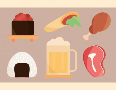 Sushi chicken beer meat food menu in cartoon flat icons set vector illustration icon